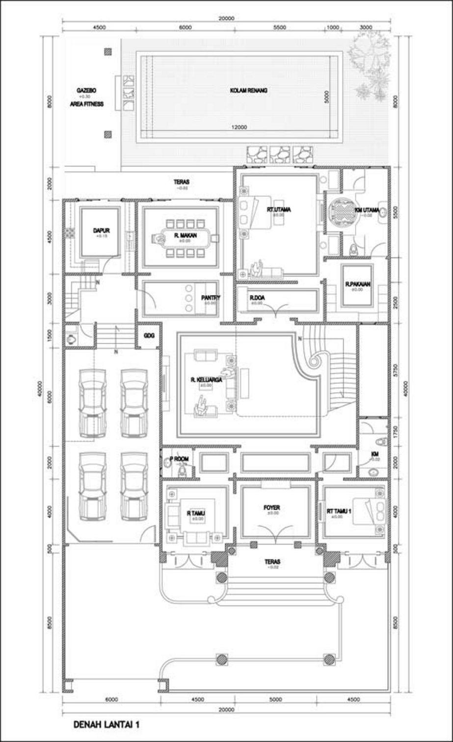 desain denah mewah 2 lantai yang menarik