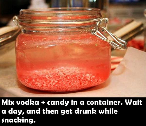 Mix vodka + candy in a container. Wait a day, and then get drunk while snacking.
