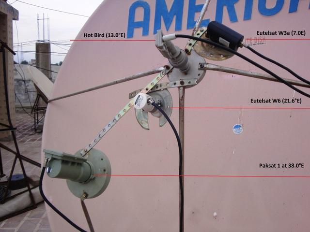 PakSat 1R, Hotbird, Eutelsat W3a, Eutelsat W6 on One Dish Antenna