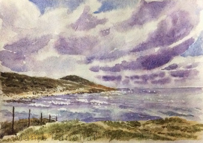water colour painting of cape leeuwin by manju panchal
