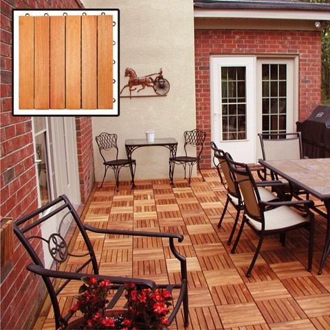 Vifah Modern Patio Interlocking Deck Tiles with 6 Slat Design in FSC Eucalyptus (Set of 10)