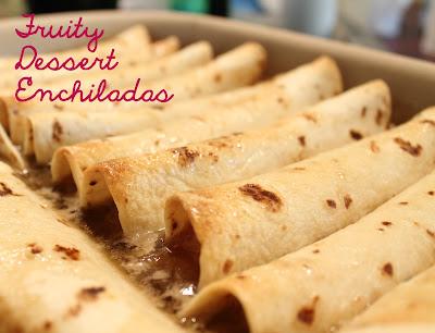 Dessert Fruit Enchiladas have a delicious caramel sauce.