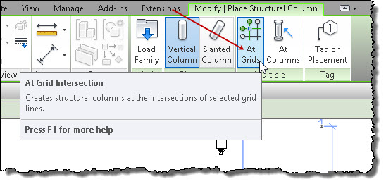 how to put in columns in revit