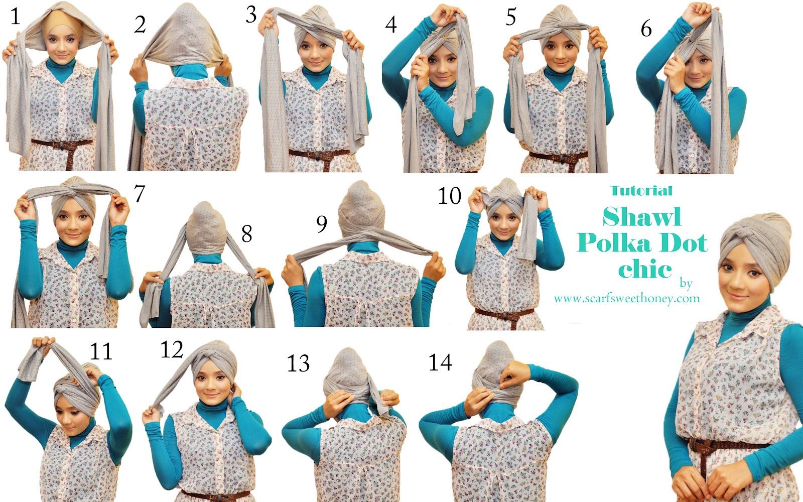 Terkait Cara Memakai Shawl Chic Polka Dot Turban Style: Jilbab, Shawl