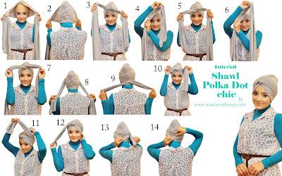 Cara Memakai Shawl Chic Polka Dot Turban Style
