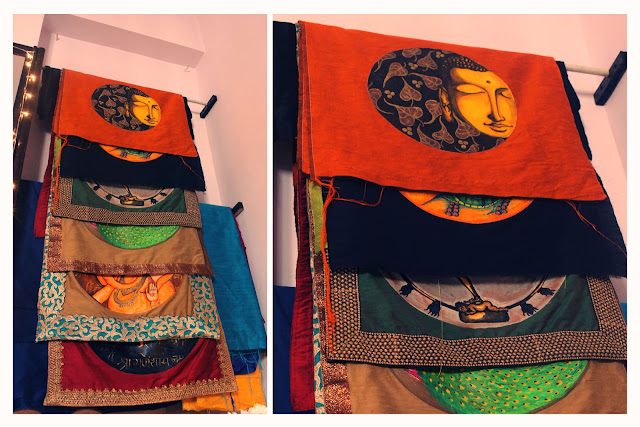 rawsilk hand painted dupattas
