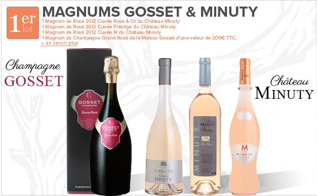"""Un coffret """"Magnums Gosset & Minuty + 1 magnum de champagne rosé + 8 magnums de rosé"""