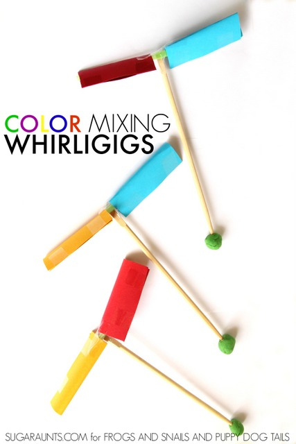 How to make a whirligig and explore color mixing with kids