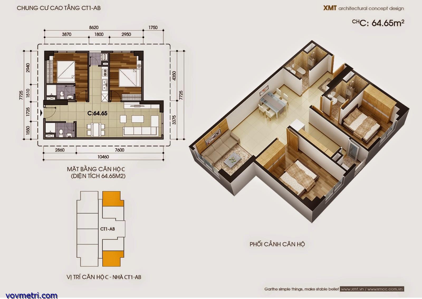 Phối cảnh căn hộ CT1AB - DT 64 m2