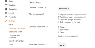 Comment Setting in Blogger Dashboard.
