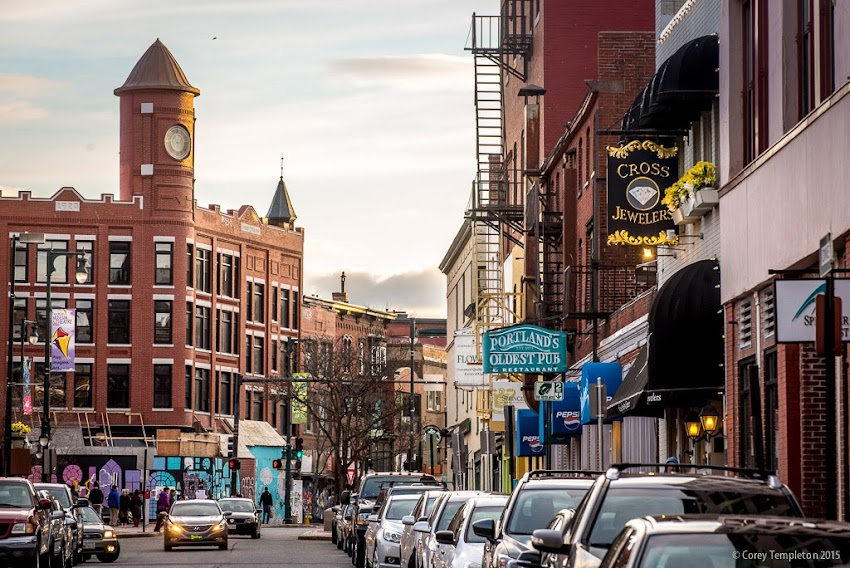 Portland, Maine April 2015 looking up Free Street towards Congress Square in the evening hour photo by Corey Templeton