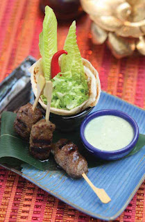 Lamb skewers with mint and coriander dip