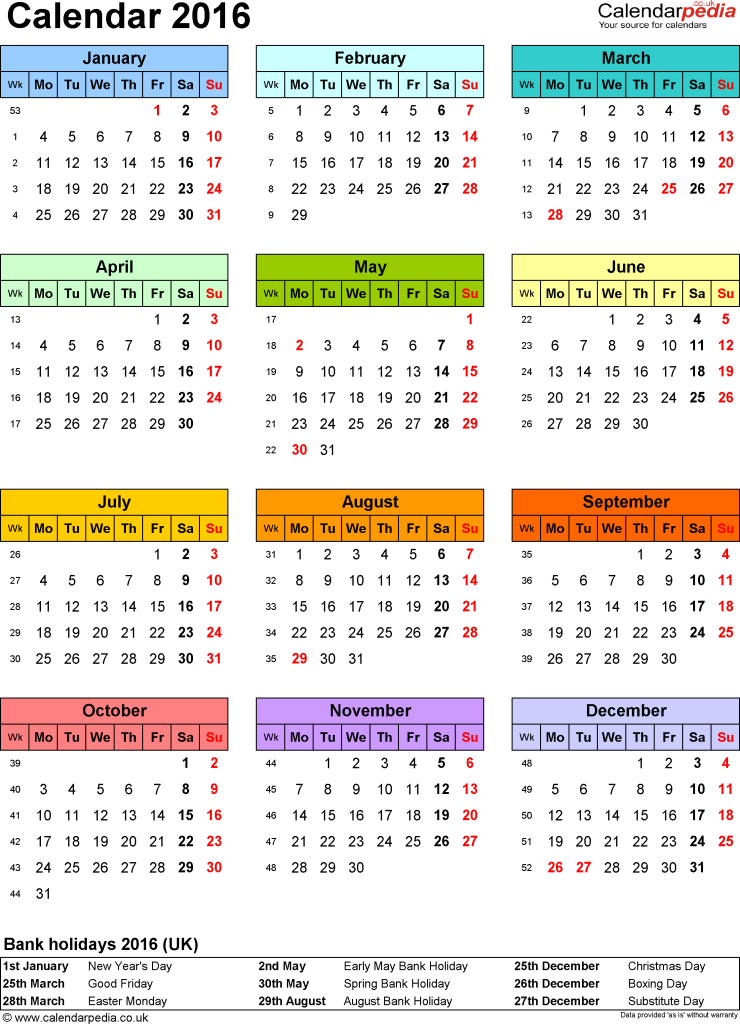 Free 2016 Printable Calendar with Holidays | Happy New Year 2016