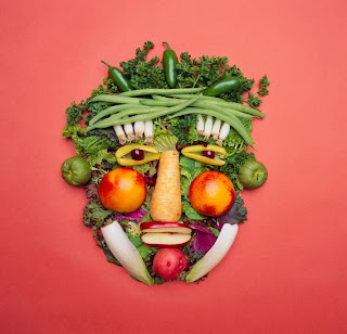 Organic vegetable face, Dark green living sober