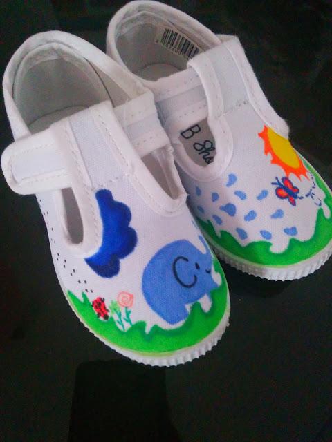 Zapatillas pintadas a mano nube sol
