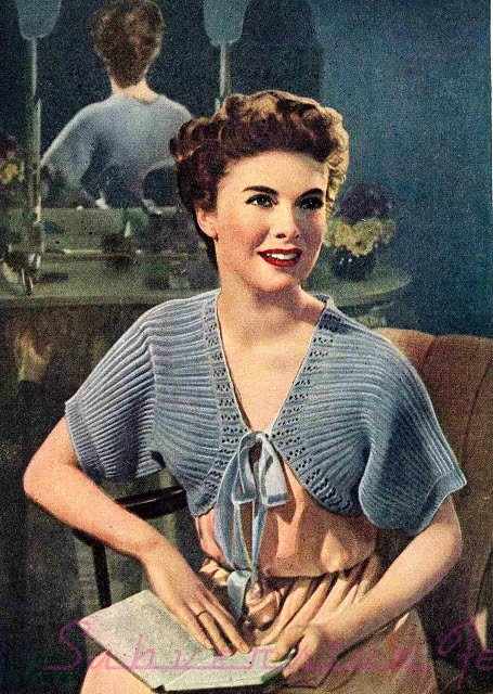 The Vintage Pattern Files: 1940s Knitting - Bolero Bed Jacket