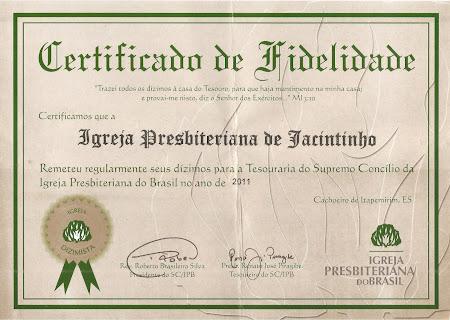 CONTRIBUIÇÃO DA IPJ A IPB 2011