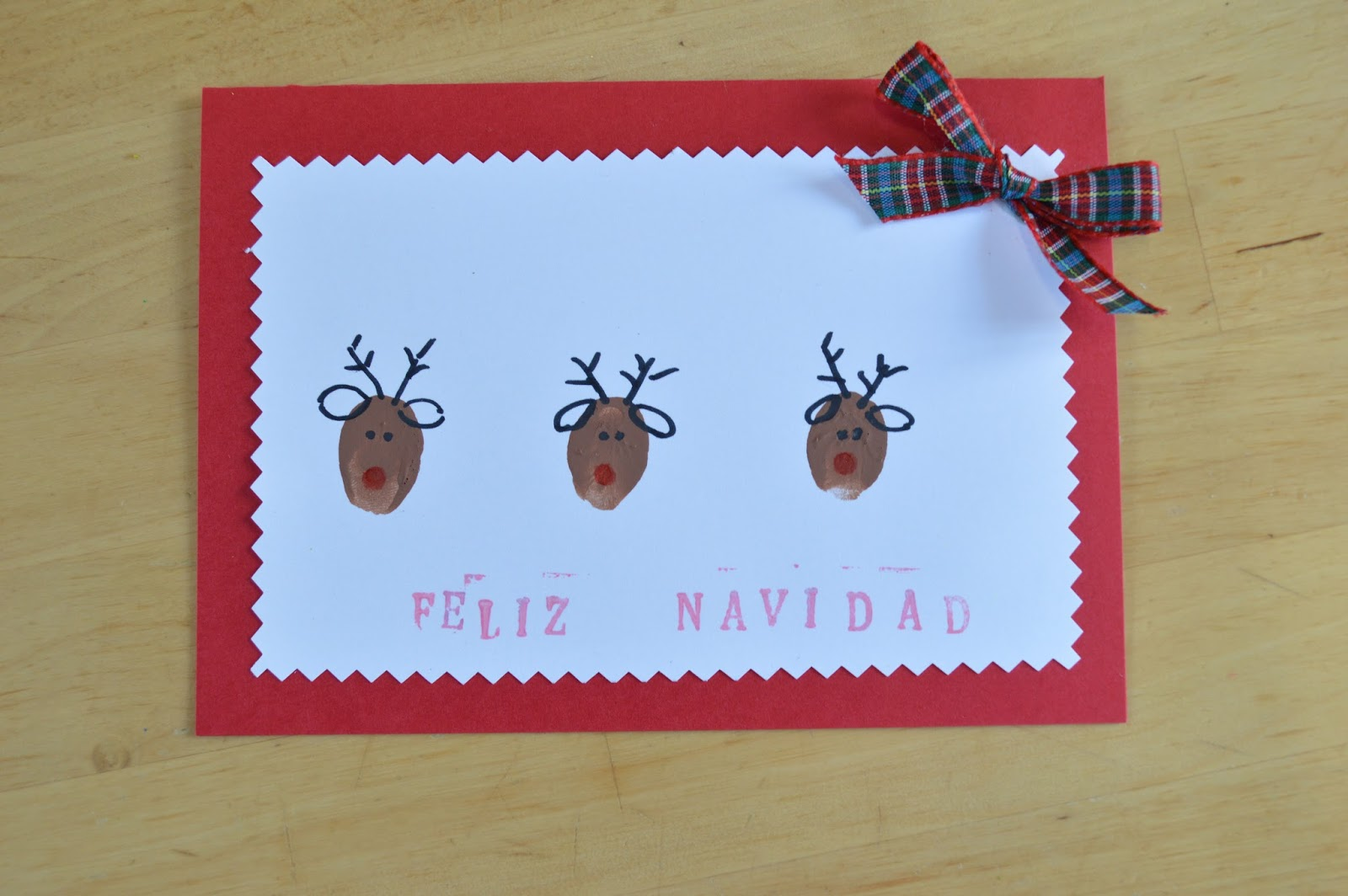 Postales de navidad renos con huellas de dedos elenarte - Tarjetas de navidad hechas por ninos ...