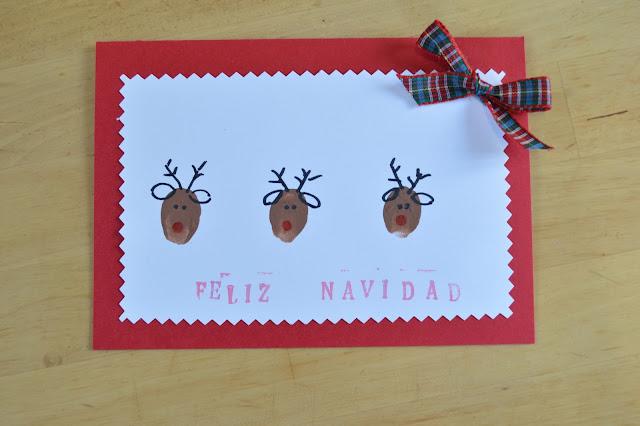 Postales de navidad renos con huellas de dedos elenarte - Postales navidad para ninos ...