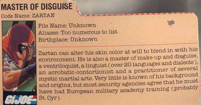 1984 Zartan, Chameleon, Filecard, Variant