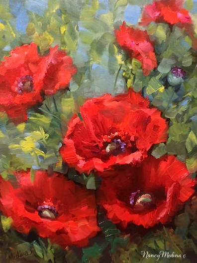 Nancy medina art cascade red poppies by floral artist - How to paint poppy flowers ...