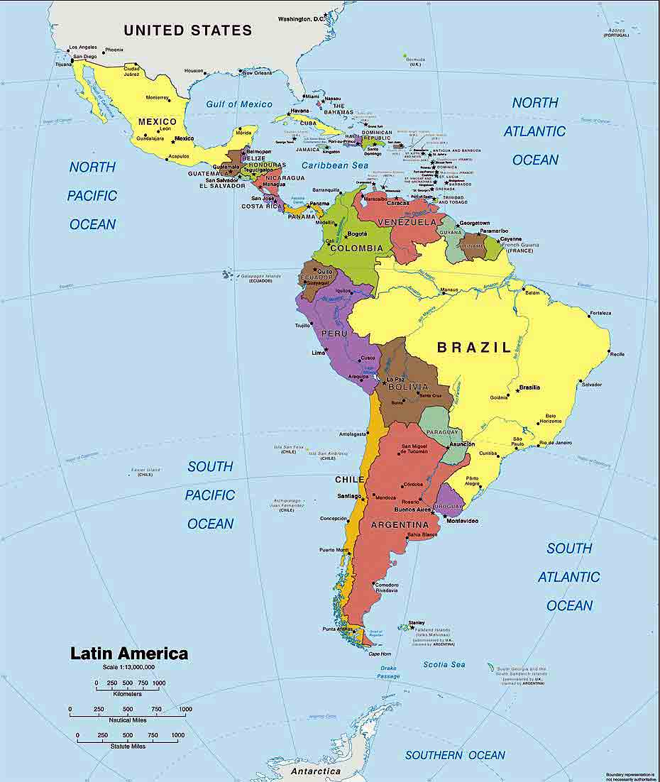 Map Of Central And South America With Capitals In Spanish