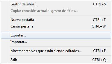 neo 2.0 - Exportar configuraciones en FileZilla - 1