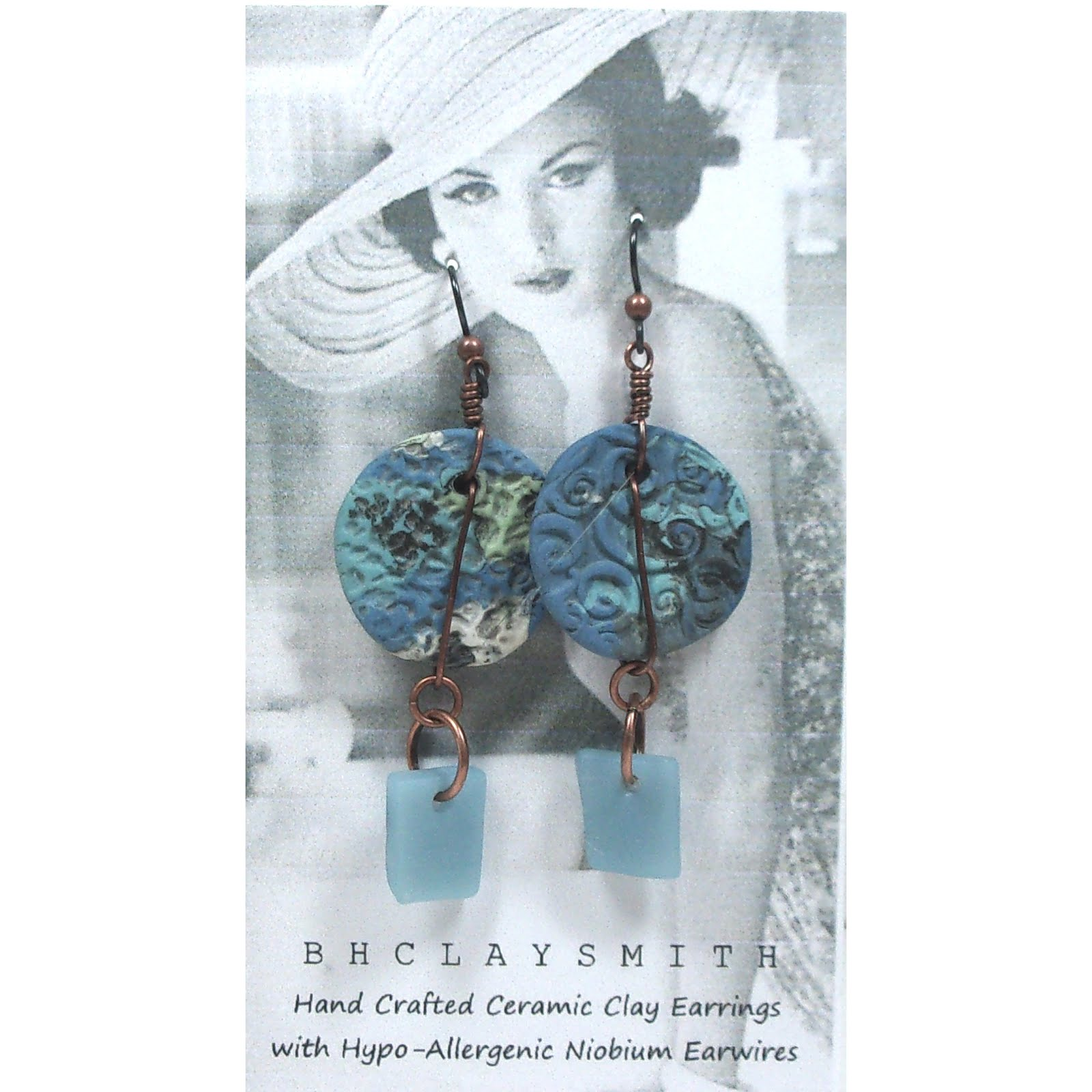 Clay & Beach Glass Earrings