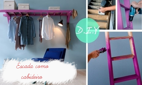 decoracao de interiores faceis de fazer:DIY Ladder Clothing Rack