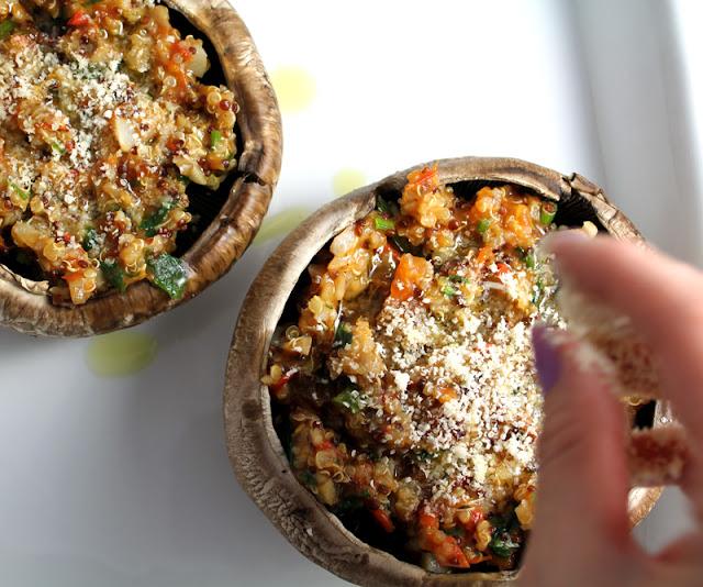 Oppskrift Portobello Fylt Portobellosopp Quinoa Vegetar Vegan Ost Parmesan