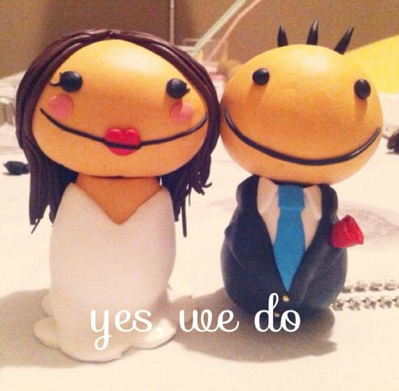 Muñecos de boda tarta