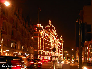 Harrods London at night