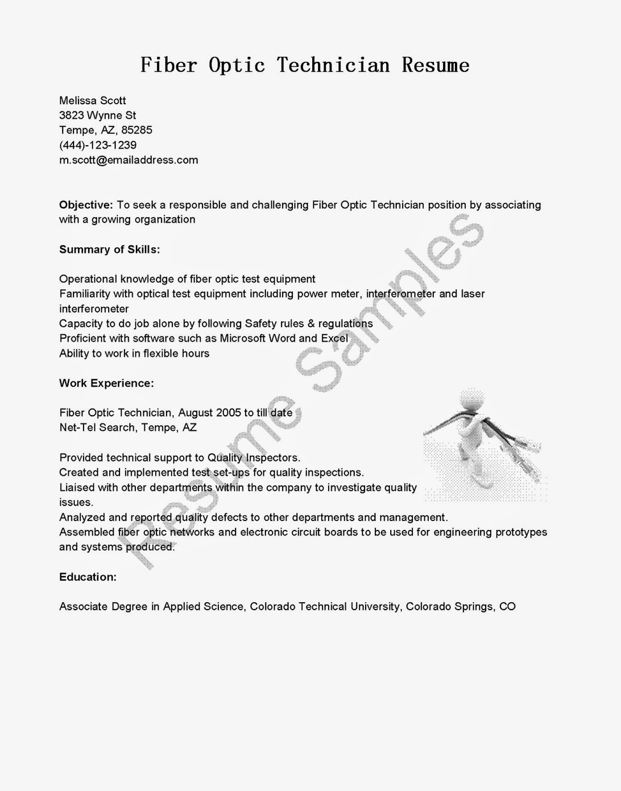 resume samples fiber optic technician resume sample