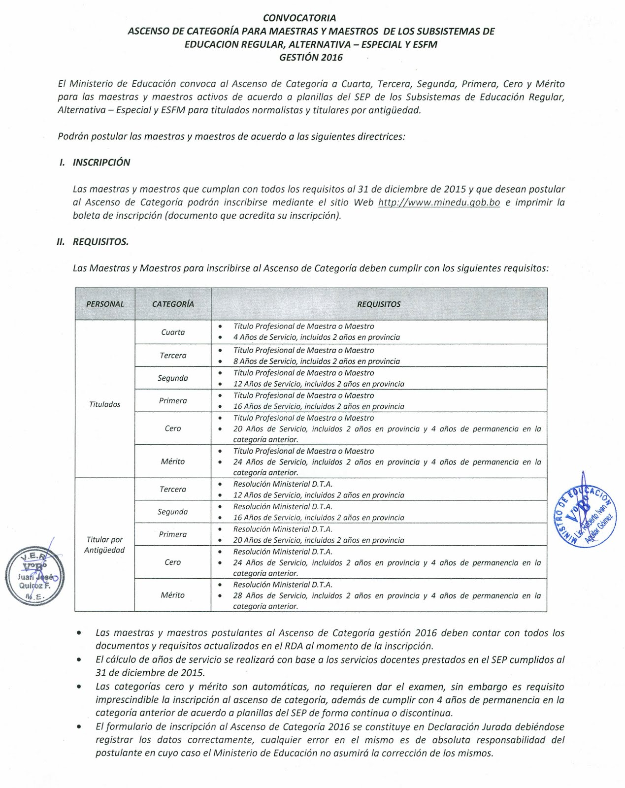 Solo profes de primaria bolivia convocatoria ascenso de for Convocatoria maestros 2016