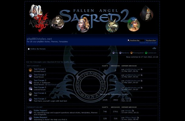 Free Black Blue Sacred Game Phpbb Style Theme