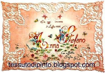 Arazzo per le nozze di Anna e Stefano: pittura su stoffa