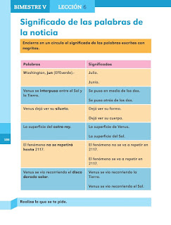 Apoyo Primaria Español 1er grado Bimestre 5 lección 6 Significado de las palabras de la noticia