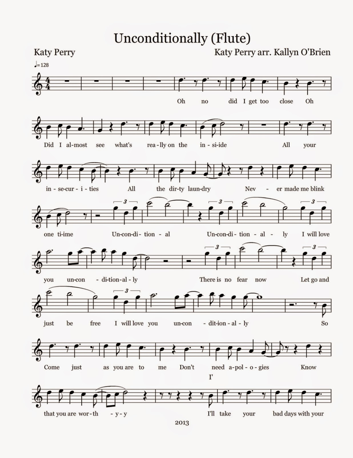 Flute sheet music unconditionally sheet music