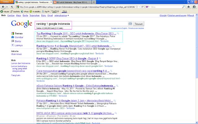 Hasil Posting Top Ranking 1 Google 2011 Setelah 96 Jam di Google Indonesia - Ranking 1 Google Inodnesia