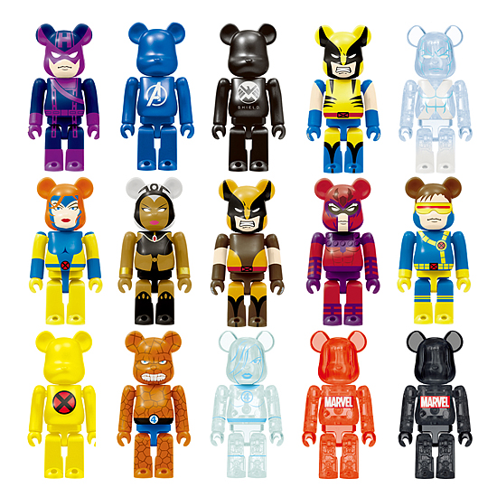 Medicom x Happy Kuji Marvel Universe 100% Be@rbrick Series - Hawkeye, Avengers Logo, SHIELD Logo, Wolverine (Yellow), Iceman, Jean Grey, Storm, Wolverine (Brown), Magneto, Cyclops, X-Men Logo, The Thing, Invisible Woman, Marvel Logo (Red) & Marvel Logo (Black)