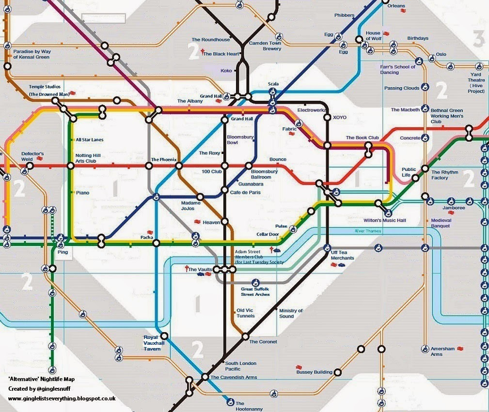 Alternative nightlife tube map
