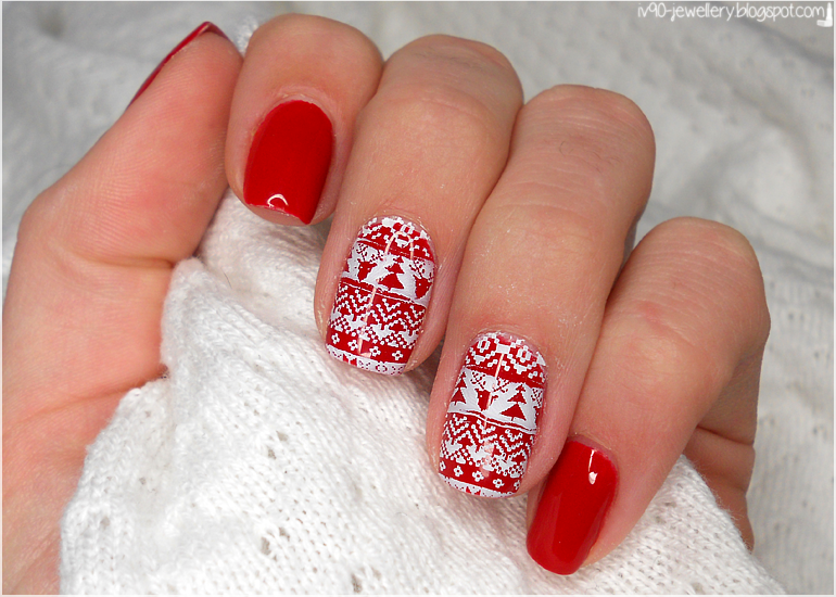 Iv90 Jewellery Manicure Czerwony świąteczny Sweterek