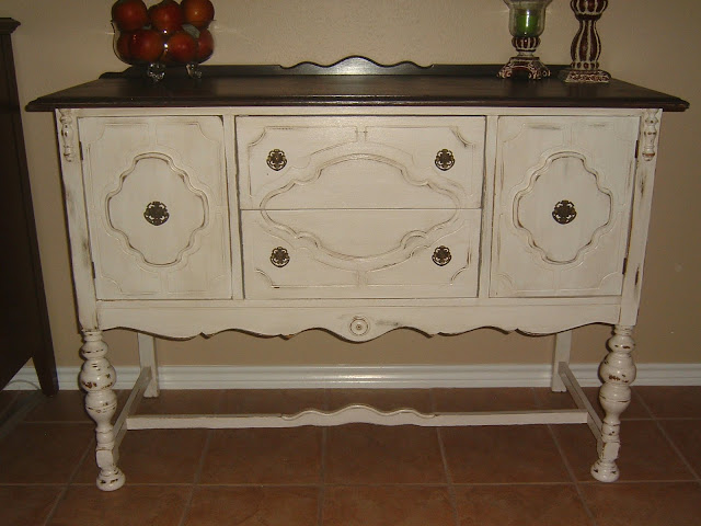 antiqued white buffet with dark brown top facelift furniture