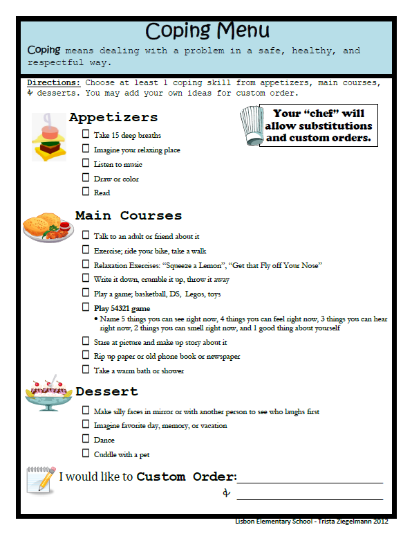 Coping skills worksheets for youth