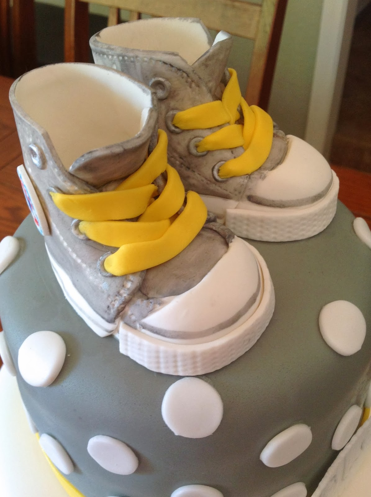 Plumeria Cake Studio Gray And Yellow Baby Shower With Converse Shoes