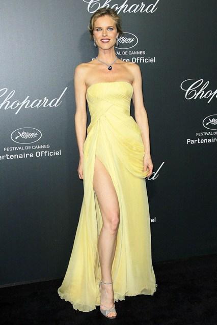 Eva Herzigova in a light yellow Elie Saab Couture dress at Cannes 2014