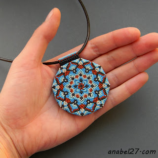 beaded pendant - seed bead jewelry