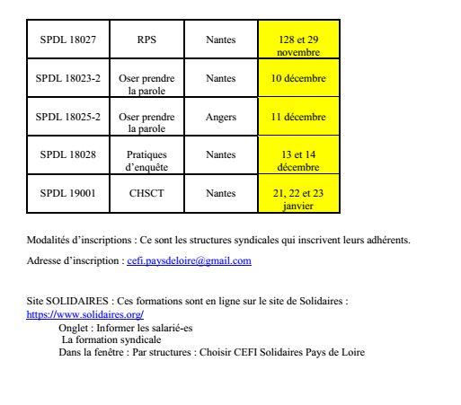 Formation CEFI 2ème semestre