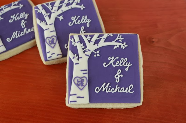 birch tree bridal shower cookies