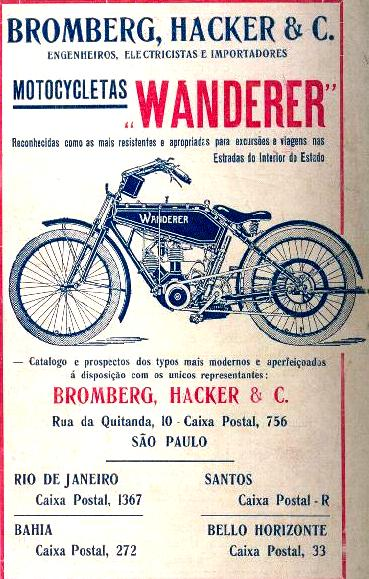 Propaganda de 1914 das Motocicletas Wanderer. Loja autorizada na cidade de São Paulo.